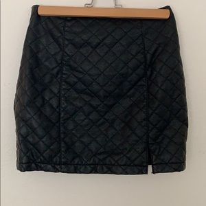 Black Quilted Faux Leather Mini Skirt ZIP